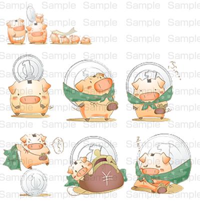 1円玉と貯金する豚さんファミリー