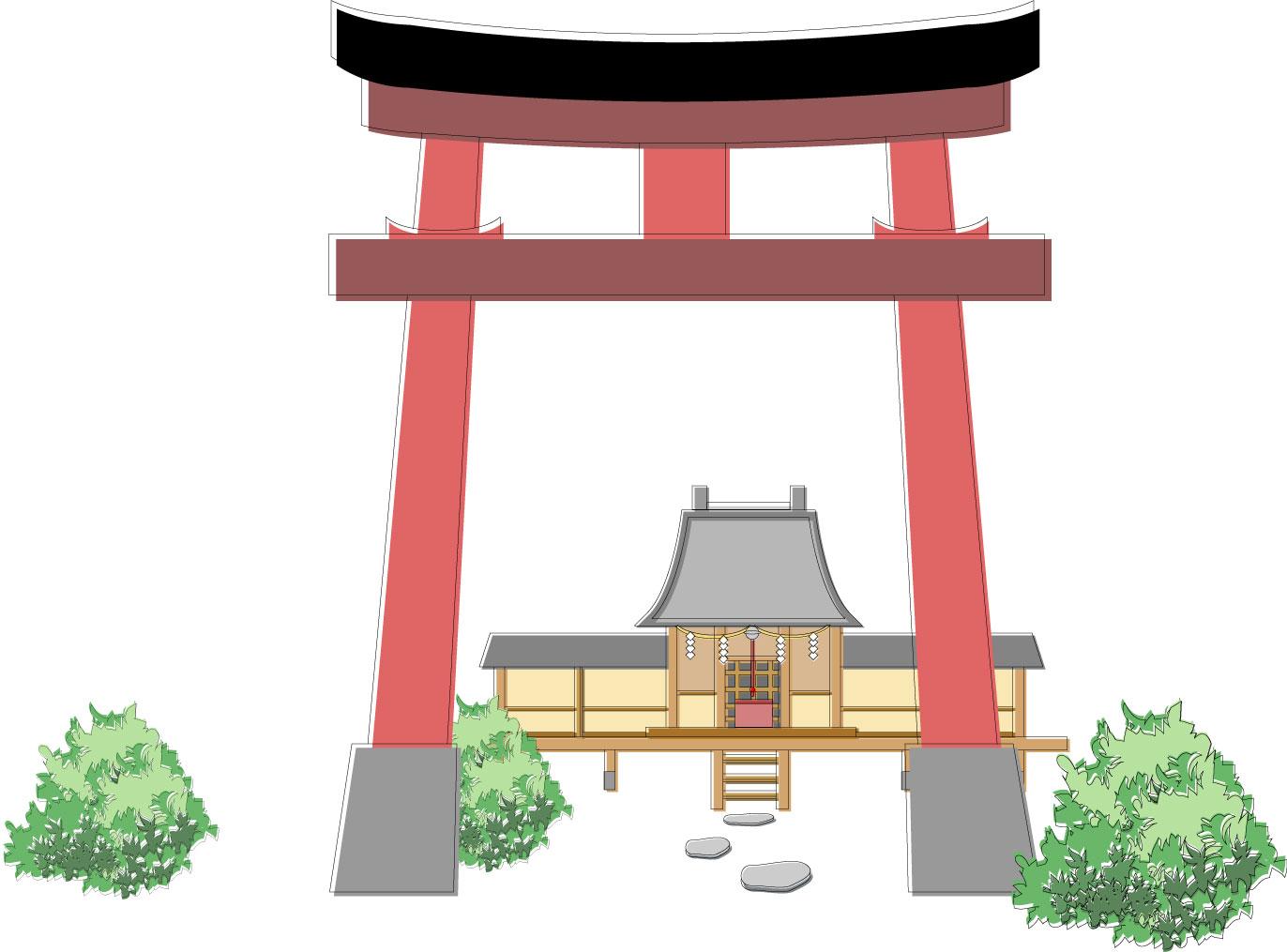 神社 背景 イラスト | 7331 イラス