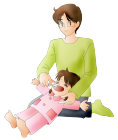 パパと女の子歯磨き