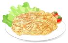 スパゲティセットでミニトマトとレタス付きお皿影付き