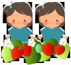 双子の女の子2人といちご