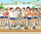 運動会、リレー前のリーダー達の握手
