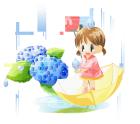 梅雨・女の子と雨と紫陽花