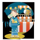 夏祭り盆踊りと浴衣の女の子