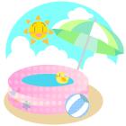 夏ビニールプールとビーチボールとパラソルとおひさまと青空と入道雲