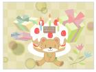 誕生日クマさんとバースディケーキカード風