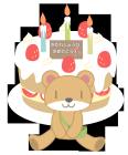 誕生日クマさんとバースディケーキ