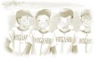 野球関係イラストのフリー素材水彩風セピア風