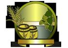ビールなイメージのラベルビア樽と麦とホップ1