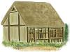 村の風景手描き手塗りアナログ風アイコン1