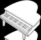 ピアノ白黒イラスト素材