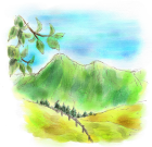 手描き・手塗り風山の風景
