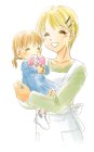 お母さんと女の子「パパお疲れさま」イラストのフリー素材
