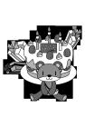 白黒イラスト0904お誕生日ケーキとクマさん