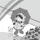 白黒イラスト0904梅雨、雨上がり