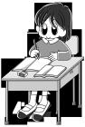 白黒イラスト0904教室の机で勉強中