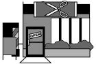 白黒イラスト0904お店のイラスト美容院