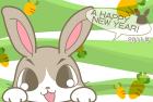 2011年卯(うさぎ)年用年賀状テンプレート4a