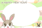 2011年卯(うさぎ)年用年賀状フレームテンプレート1b