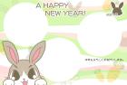 2011年卯(うさぎ)年用年賀状フレームテンプレート3a