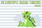 2012年辰(竜)年年賀状テンプレート切絵風b