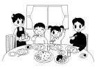 白黒食卓の風景1