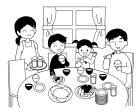 白黒食卓の風景2