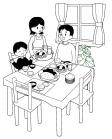 白黒食卓の風景3