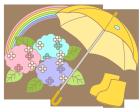 梅雨・雨具・虹・紫陽花