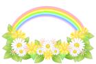 お花と虹・背景・白バック