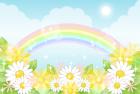 お花と虹・背景・横