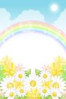 お花と虹・背景・縦