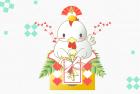 鳥・酉・2017年・年賀状・テンプレート・鏡餅5