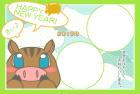 猪・亥・2019年・年賀状・テンプレート・フレーム2