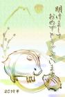 猪・亥・2019年・年賀状・テンプレート・和4