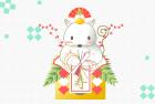 ねずみ・子・2020年・年賀状・テンプレート・鏡餅5