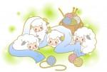 2014未年年賀状素材_毛糸に戯れる羊たち