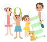 家族と海水浴