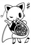 ホルンを演奏する猫