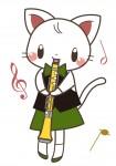 オーボエを演奏する猫