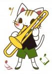 トランペットを演奏する猫