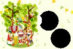 年賀状フレームテンプレート(十二支と猫)