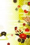 亥年向け年賀状テンプレート蝶と華